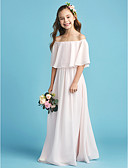 cheap Evening Dresses-A-Line Off Shoulder Floor Length Chiffon Junior Bridesmaid Dress with Pleats by LAN TING BRIDE®