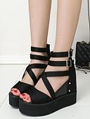 cheap Plus Size Dresses-Women's Shoes PU(Polyurethane) Summer Comfort Sandals / Boots Wedge Heel Open Toe Black