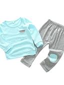 tanie Zestawy ubrań dla niemowląt-Dziecko Dla dziewczynek Prosty / Casual Codzienny Solidne kolory Długi rękaw Bawełna Komplet odzieży Rumiany róż 90