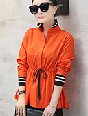 tanie Koszula-Koszula Damskie Moda miejska Bawełna Wyjściowe Kołnierz stawiany Solidne kolory
