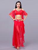 זול שמלות לילדות פרחים-ריקוד בטן תלבושות בגדי ריקוד נשים הדרכה הצגה כותנה צורני שסע חצי שרוול נפול חצאיות עליון צעיף מותניים לריקודי בטן