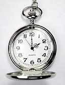 זול שעוני ילדים-לזוג שעוני שלד שעון כיס קווארץ חריתה חלולה שעונים יום יומיים סגסוגת להקה אנלוגי פאר יום יומי גולגולת כסף - כסף