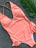 tanie Bikini i odzież kąpielowa-Damskie Falbana Pasek Czarny Rumiany róż Dół typu Cheeky Jednoczęściowy Stroje kąpielowe - Solidne kolory Falbana S M L