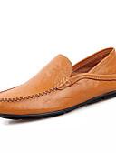 baratos Chapéus de Moda-sapatos Couro Ecológico Primavera Outono Conforto Mocassins e Slip-Ons para Ao ar livre Preto Marron Azul