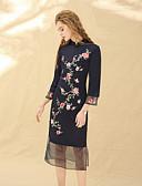 זול שמלות נשים-עומד פרח מפוצל, סרוג - שמלה נדן סגנון סיני בגדי ריקוד נשים