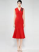 olcso Női ruhák-Női Boho Sellő fazon Ruha - Alap, Tömör szín V-alakú Állógallér