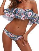 billige Bikinier og bademode-Dame Skulderfri Blomstret Boheme Skulderfri Blå Bikini Badetøj M L XL