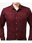 זול חולצות לגברים-דפוס חולצה - בגדי ריקוד גברים סגנון קלאסי / שרוול ארוך