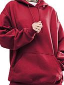 זול טרנינגים וקפוצ'ונים לנשים-צבע טהור, אחיד קפוצ'ון משוחרר כותנה בגדי ריקוד נשים / סתיו / חורף / בטנה מפליז / מראה ספורטיבי