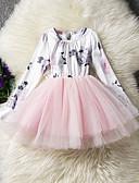 preiswerte Kleidersets für Mädchen-Mädchen Kleid Alltag Festtage Blumen Baumwolle Ganzjährig Langarm Niedlich Freizeit Rosa Grau