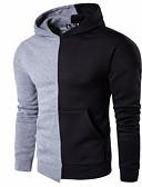 cheap Men's Hoodies & Sweatshirts-Men's Long Sleeves Hoodie - Color Block Hooded
