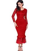 preiswerte Damen Kleider-Damen Spitze Kleid Solide Maxi