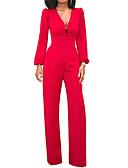 cheap Women's Belt-Women's Wide Leg Daily V Neck Blue Black Red Wide Leg Jumpsuit, Solid Colored M L XL High Waist Long Sleeve Summer Fall