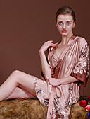 זול חלוקים & Sleepwear-בגדי ריקוד נשים חליפות סטן ומשי פיג'מות-מסוגנן,פרחוני