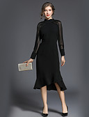 זול שמלות נשים-גולף מקסי אחיד - שמלה גזרת A סווינג רזה סגנון רחוב עבודה בגדי ריקוד נשים