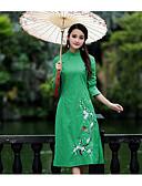 tanie Sukienki-Damskie Kij Rękaw motylek Szyfon Sukienka - Solidne kolory, Koronka Kołnierz stawiany Midi