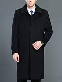 olcso Férfi dzsekik és kabátok-Munka Állógallér Férfi Hosszú Felöltő - Egyszínű, Túlméretezett Pamut / Hosszú ujj