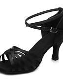 זול טרנינגים וקפוצ'ונים לגברים-נעליים לטיניות סטן עקבים רתן עקב קובני מותאם אישית נעלי ריקוד שחור / בז' / חום כהה