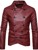 cheap Men's Jackets & Coats-Men's Cotton Jacket - Solid Colored, Patchwork Shirt Collar / Long Sleeve