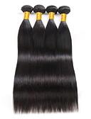 זול טרנינגים וקפוצ'ונים לגברים-4 חבילות שיער ברזיאלי ישר שיער אנושי טווה שיער אדם 8-28 אִינְטשׁ שוזרת שיער אנושי תוספות שיער אדם בגדי ריקוד נשים