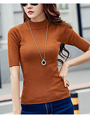cheap Women's Sweaters-Women's Going out Short Sleeve Pullover - Solid Colored Turtleneck / Spring / Summer