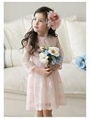 お買い得  女児 ドレス-女の子 ヴィンテージ 日常 ソリッド 七分袖 コットン / 竹繊維 ドレス ホワイト