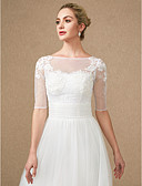 cheap Wedding Wraps-Half Sleeves Lace Tulle Wedding Party / Evening Women's Wrap With Appliques Buttons Lace Shrugs