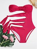 abordables Biquinis y Bañadores para Mujer-Mujer Monokini - Lazo / Acordonado, Un Color Slips Sin Tirantes