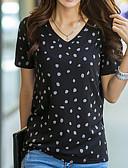 preiswerte Damen Kleider-Damen Punkt Grundlegend Alltag T-shirt V-Ausschnitt Kurzarm Baumwolle Sommer Schwarz Grau S M L XL XXL