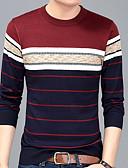 billige T-skjorter og singleter til herrer-Rund hals T-skjorte Herre - Stripet, Trykt mønster Grunnleggende Navyblå L / Langermet / Høst