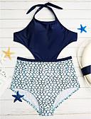 cheap Women's Swimwear & Bikinis-Women's Solid / Cutouts Halter Neck Monokini - Print / Wireless / Padded Bras