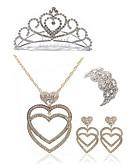 preiswerte Damen Socken & Strumpfwaren-Damen Schmuck-Set - Diamantimitate Herz Europäisch, Modisch Einschließen Tiara / Braut-Schmuck-Sets Gold Für Hochzeit / Party