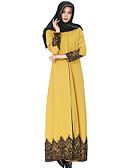 זול שמלות נשים-צווארון חולצה מקסי תחרה, אחיד - שמלה גלבייה עבאיה כותנה בגדי ריקוד נשים