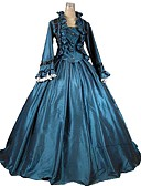 cheap Petticoats-Victorian Renaissance Costume Outfits Blue Vintage Cosplay Satin / Tulle Long Sleeve
