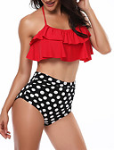 cheap Women's Swimwear & Bikinis-Women's Halter Neck Bandeau Bikini - Solid Colored Black & Red, Ruffle / Print High Waist / Polka Dot