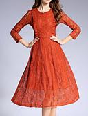 זול שמלות נשים-עד הברך תחרה, אחיד - שמלה גזרת A ליציאה בגדי ריקוד נשים