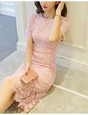 tanie Romantyczna koronka-Damskie Wyjściowe Wyrafinowany styl Pochwa Sukienka - Solidne kolory, Koronka Nad kolano / Lato / Szczupła