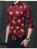 זול חולצות לגברים-אחיד / פרחוני כותנה, חולצה - בגדי ריקוד גברים / שרוול ארוך