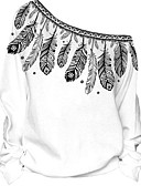 tanie Damskie bluzy z kapturem-Damskie Bluzy z kapturem i bluzy Nadruk Z odsłoniętymi ramionami / Jesień