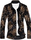 ieftine Maieu & Tricouri Bărbați-Bărbați Cămașă Bumbac Plante Imprimeu / Manșon Lung
