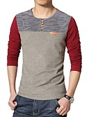 זול סוודרים וקרדיגנים לגברים-קולור בלוק צווארון עגול כותנה, טישרט טלאים
