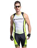 abordables Trajes acuáticos y camisetas antierupciones-Nuckily Hombre Manga Corta Traje Tri - Verde Geométrico Bicicleta Diseño Anatómico, Resistente a los UV, Transpirable Poliéster / Licra