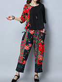 cheap Women's Dresses-Women's Chinoiserie Cotton Loose Set - Floral, Print Pant / Fall