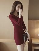 billige damesweaters-Dame Bomuld Langærmet Lang Pullover - Ensfarvet