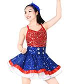 זול טרנינגים וקפוצ'ונים לגברים-ג'אז שמלות בגדי ריקוד נשים שלב אלסטי / לייקרה נוצות \ פרווה / מפרק מפוצל / Paillette ללא שרוולים טבעי שמלה / לבוש ראש