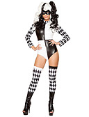 cheap Sweater Dresses-Burlesque Clown Cosplay Costume Women's Halloween Festival / Holiday Halloween Costumes Outfits Black Plaid / Check