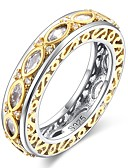 cheap Quartz Watches-Women's Cubic Zirconia Band Ring - Gold Plated Flower Vintage, Elegant 6 / 7 / 8 Gold For Wedding / Evening Party
