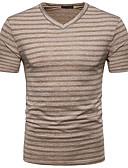 hesapli Erkek Tişörtleri ve Atletleri-Erkek V Yaka Tişört Çizgili Sokak Şıklığı Koyu Gri / Kısa Kollu / Bahar / Yaz