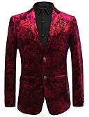 זול בלייזרים וחליפות לגברים-דפוס וינטאג' מתוחכם מידות גדולות בלייזר-בגדי ריקוד גברים / שרוול ארוך / עבודה