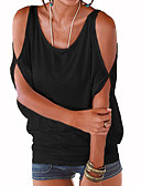 cheap Women's T-shirts-Women's Going out Street chic Loose T-shirt - Solid Colored Cut Out / Summer